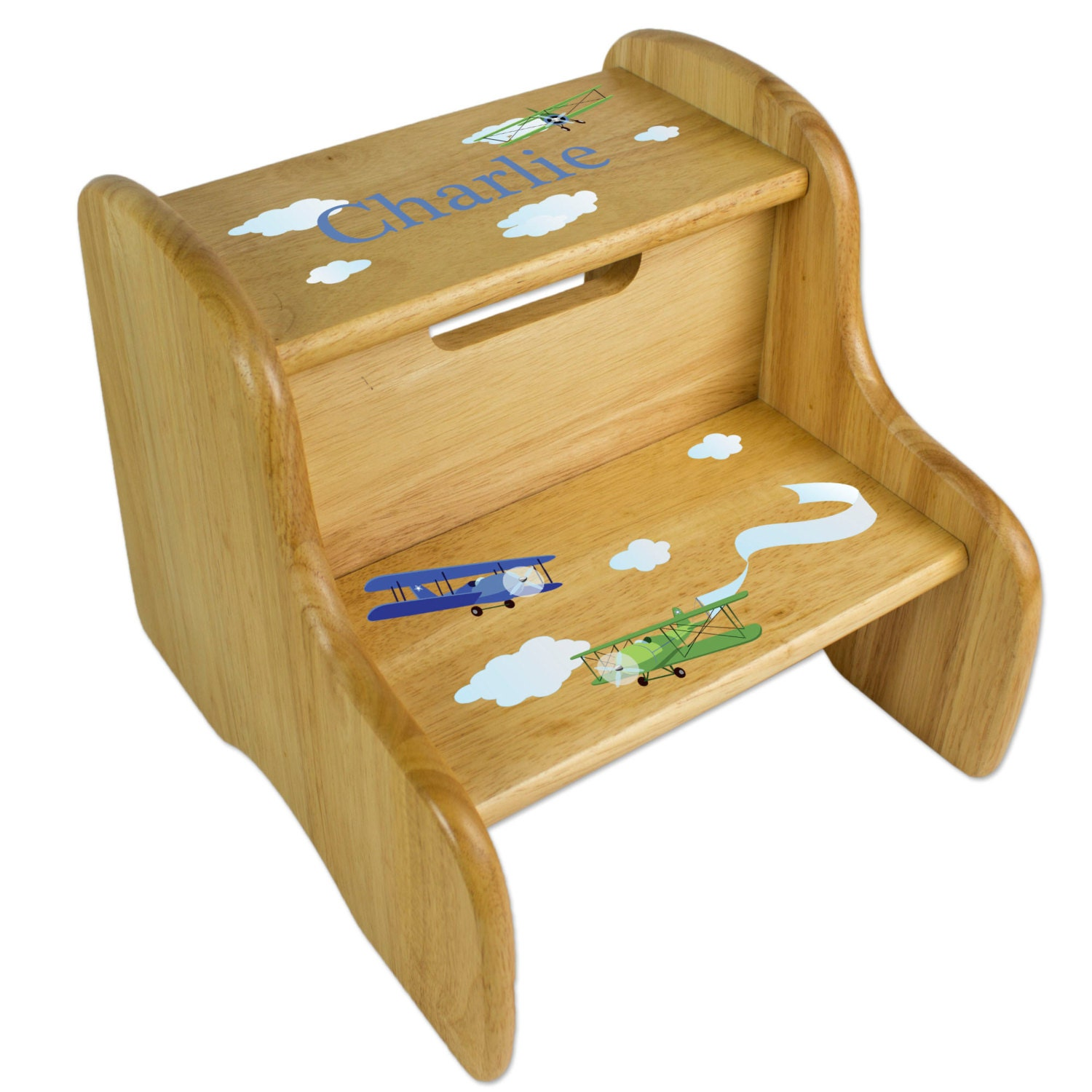 Vintage Airplane Step Stool Personalized Wood Stools For Baby