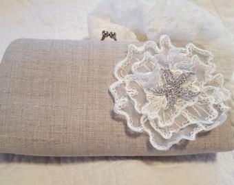 Linen Starfish Bridal Clutch - Beach Wedding Clutch - Beach Bride, Tropical Wedding - Bridal Purse