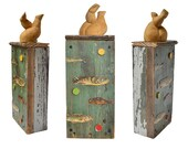 """Skinny Dipping, 14"""" tall, mixed media assemblage, wood salvage, lake house  beach house art, found object art by Elizabeth Rosen"""