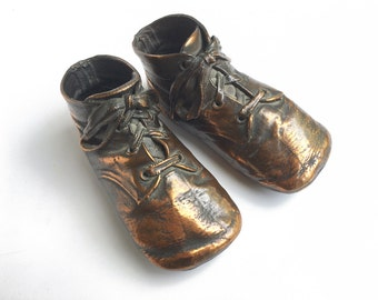 vintage bronzed baby shoes, copper bronze booties, nursery decor, photo prop