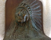 vintage antique all bronze Indian chief head bust bookend headress high relief 3d
