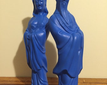 Vintage Emperor and Empress Figurines / Asian Statues / Vintage Asian Figurines / Asian Art / Statues / Statue / Asian / Figures / Homemade