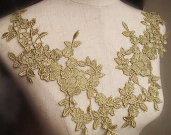 one pair of metallic gold lace applique with flowers, bridal lace applique