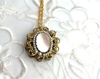 Art Deco Abalone Pendant, Faux Pearls Gold Tone, Matching Necklace, Item No. B451