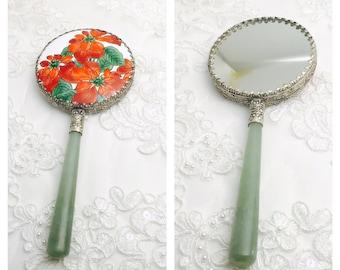 Vintage Asian Hand Mirror, Jade Handle, Silver Plated, Painted Porcelain, Estate Sale, Item No. M111