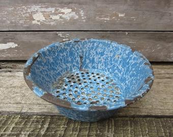 Antique Blue Graniteware Enameled Colander Rustic Country Kitchen Strainer Old Granite Ware Enamel Swirled Vintage Kitchen Decor Primitive