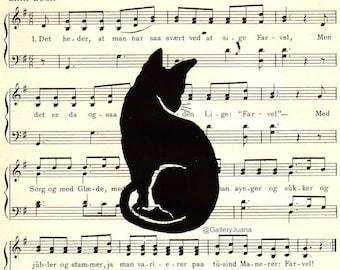 handpulled cat print on vintage music paper, 6 x 6, Black Kitty #6