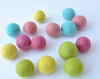 Felt balls - 15 pieces - 2cm - Sherbet Colours - 100% wool felt