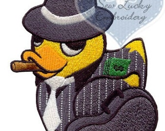 Gangster Duckie Applique Embroidered Patch , Sew or Iron on