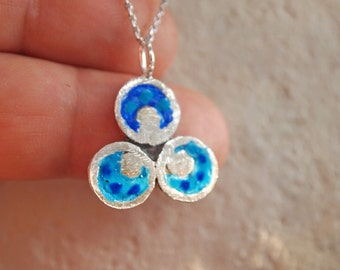 PROTECTION NECKLACE, TURQUOISE Blue Pendant, Three Circles, Ottoman, Buddhist Necklace, Sterling Silver, Evil Eye