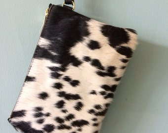 Cowhair and leather purse, leather clutch, black and white cowhair wristlet