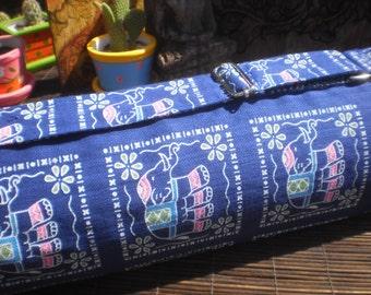 Yoga Mat Bag , Elephant Print, Hand made Yoga Bag,
