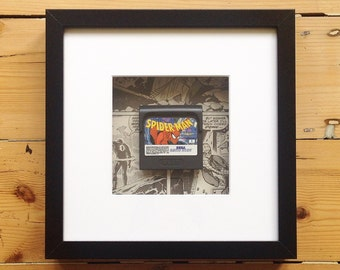Spiderman Game Gear Cart Framed Wall Art - Retro Gaming Gamer Geek Picture Home Decor OOAK Computer Videogames