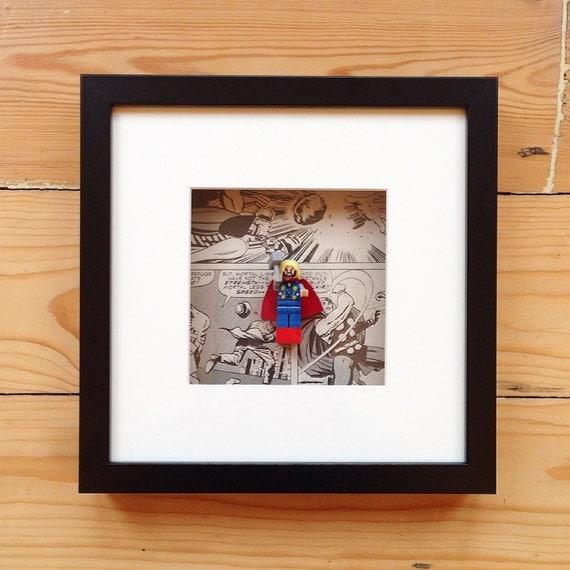 Lego thor superhero wall art framed minifigure picture for Superhero wall art