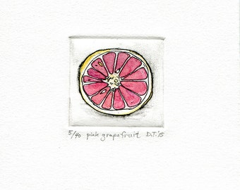 pink grapefruit etching miniprint