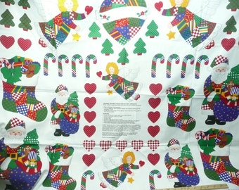 1 Yard Panel Christmas Patchwork Appliques, Cranston Printworks, Cotton
