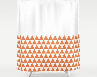36 colours, Geometric Triangles Half Pattern Shower Curtain, bathroom shower curtains, Celosia Orange and white triangles bathroom decor