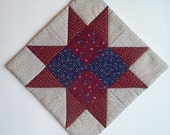 Quilted Candle Mat - Cranberry - Country Style Decor - Mug Rug - Saw Tooth star - Vintage Fabrics - Scrappy