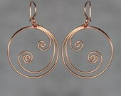 Ocean wave double scroll 14k rose gold filled wiring hoop Earrings Bridesmaid gifts Free US Shipping handmade Anni designs