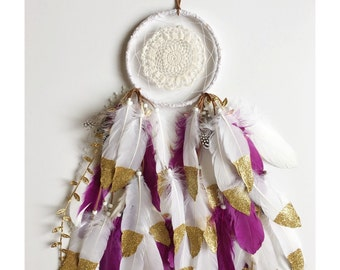"""6"""" Custom Full Gold Dipped Feather Dreamcatcher"""