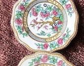 Vintage Coalport Miniature Plates.  Pair.  One a brooch.  Indian Tree pattern.