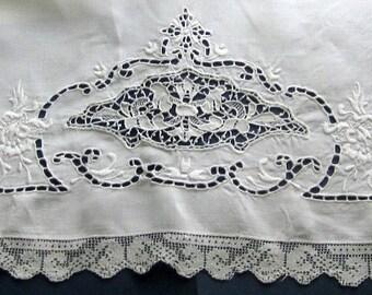 Vintage Pillow Sham cover.  Lace trim.  Could make 2 pillows.