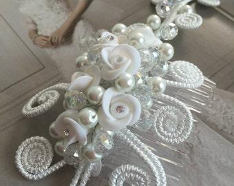Hair accessory, wedding hair accessory, first communion hair accessory, hair clip white hair accessory. Bridal hair piece