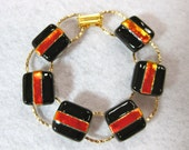 Dichroic Fused Glass Bracelet , Fused Glass Jewelry, Rainbow Bracelet, 7 inches