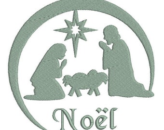 Embroidery design machine nativity scene Christmas instant download.