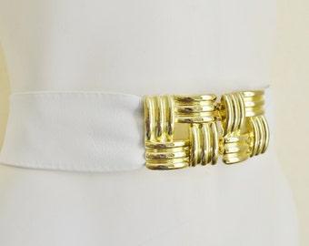 """Vintage Giani Bernini White Leather Belt with Large Gold Clasp 1980's Small 25"""" -26"""" Medium"""