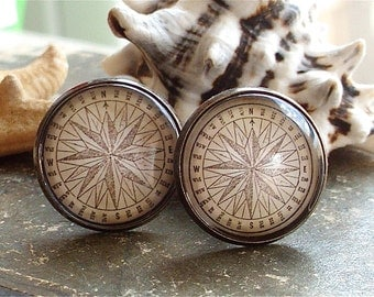 Compass Cufflinks - Compass Cuff Links In Bronze - Pirate Jewelry - Nautical
