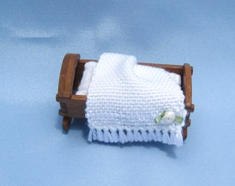 Dollhouse Baby Blanket Miniature Handwoven White Baby Blanket Dollhouse Crib Blanket Tiny Doll Blanket Miniature White Doll Blanket