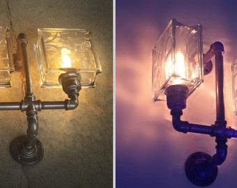 Wall Light, Glass Block, Sconce.