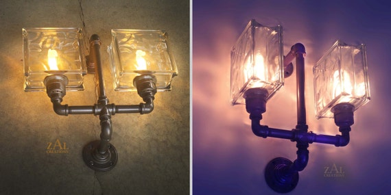 Wall Light Glass Block Sconce.