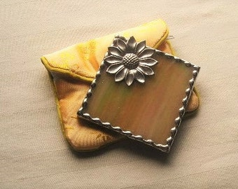 Stained Glass|Stained Glass Purse Mirror|Pocket Mirror|Sunflower Mirror|Yellow|Bath & Beauty|Makeup Tool|Handcrafted|Made in USA
