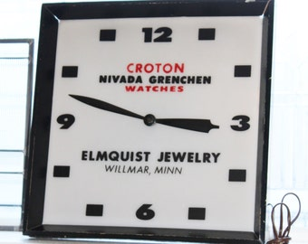 Vintage Lighted Advertising Clock Nivada Grenchen Croton Watches Willmar Minnesota