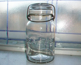 Foster Sealfast Mason Jar Quart with Glass Lid Vintage 1920s Canning Jar