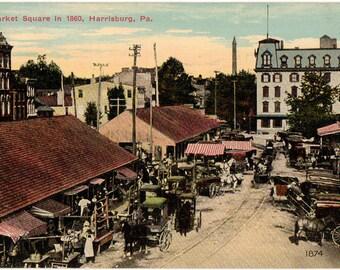 Vintage Postcard, Harrisburg, Pennsylvania, Market Square as Seen in 1860