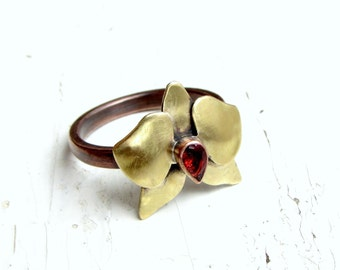 Orchid Ring Garnet Copper and Brass Metalwork - MADE To Order