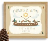 Nature Lover Gift Adventurous Couple Personalized Wedding Gift Kayaking Art Outdoorsy Couple Canoe Camping Hiking Wilderness