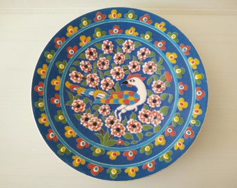 handpainted blue wall plate with peacock and flowers, kitchen decor, dining room decor, turkey kog gini