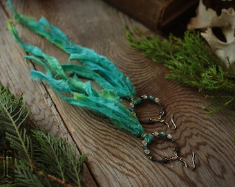 waterfall // blue and green tie dyed fringe earrings