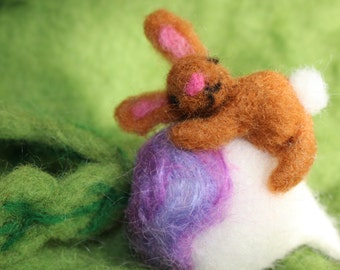 Needle Felted Bunny on Turnip, Easter Bunny, Easter Decoration, Waldorf Inspired, Turnip Love