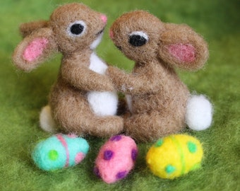 Easter Bunny, Needle Felted Bunnies, 2 Realistic Bunnies with 3 Easter Eggs, Handmade, Waldorf Inspired