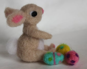Easter Bunny, Needle Felted Bunny, 1 Tan Bunny with 3 Easter Eggs, Handmade, Waldorf Inspired