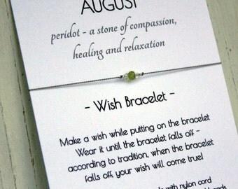 August Birthstone Bracelet - August Birthstone Wish Bracelet - Peridot Bracelet - Peridot Wish Bracelet - August Gift Jewelry