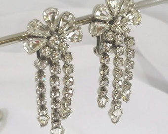 Art Deco Vintage Rhinestone Earrings Clip On Dangle 1940s Hollywood Glam