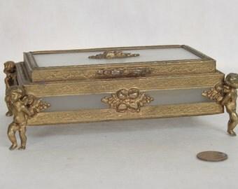 Vintage ORMOLU Casket Box Jewelry Box Vanity Trinket Box Brass Filigree Cherubs Frosted Glass