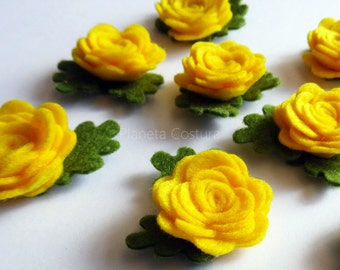 Felt applique, Felt Flower applique, Felt Flower Embellishment, Craft Supplies, 10 pieces, Yellow