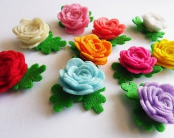 Felt applique, Felt Flower applique, Felt Flower Embellishment, Craft Supplies, 10 pieces, Multicolors flowers